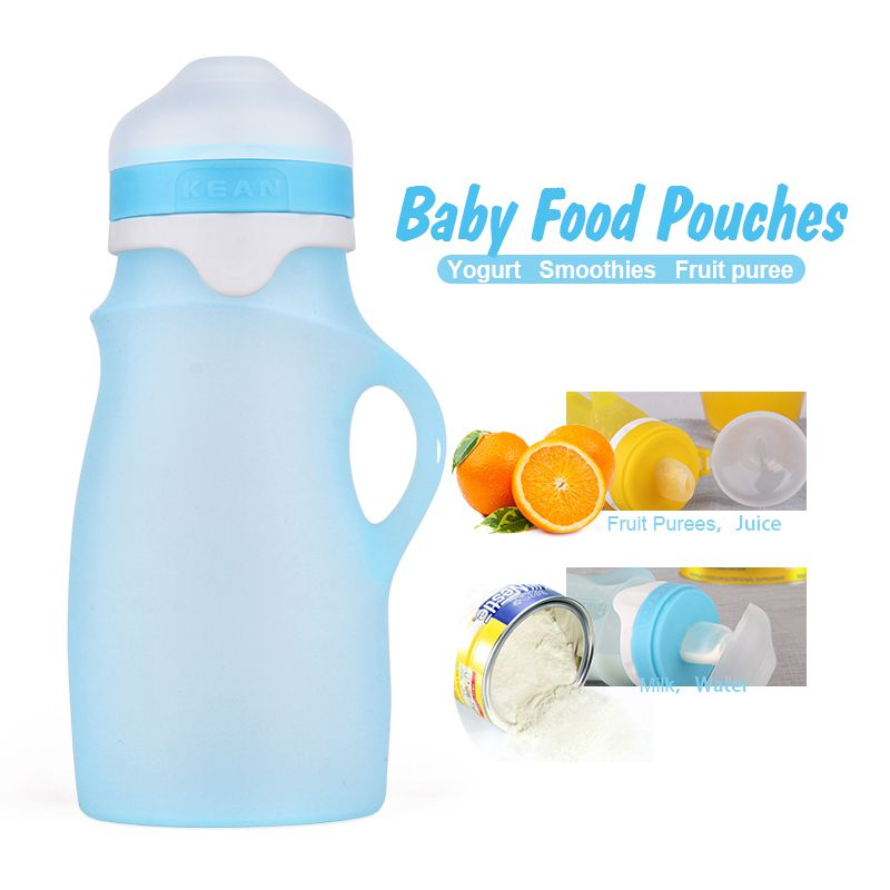 Silicone Baby Food Pouches Fresh Reusable Squeeze Pouch