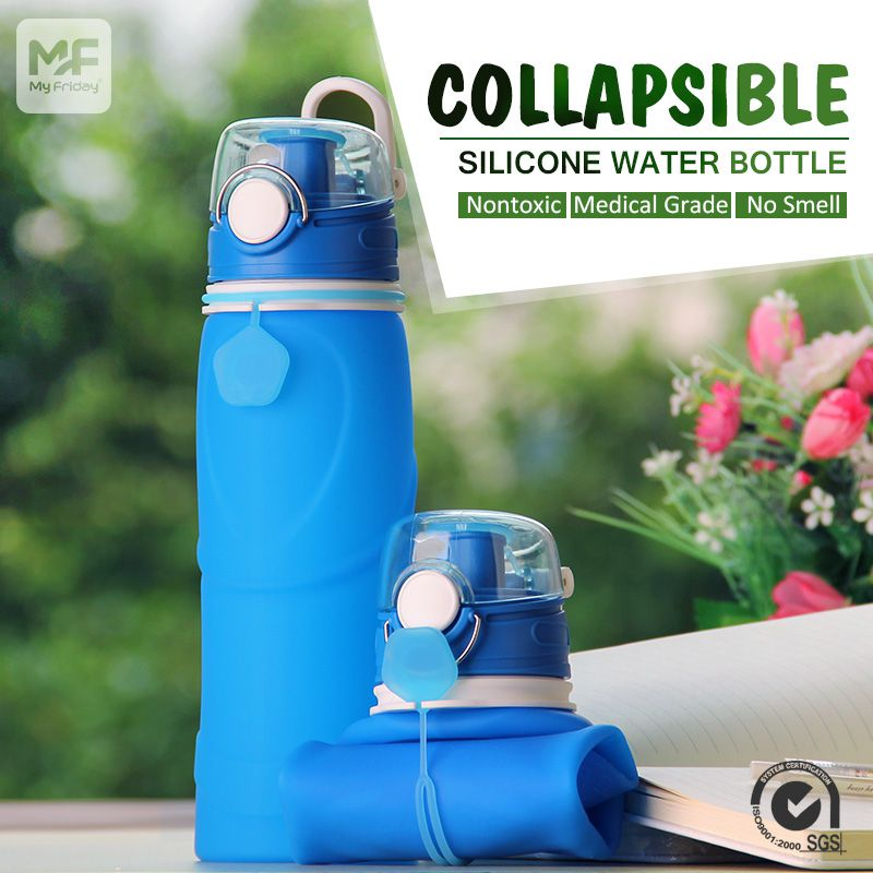 Fold Up Water Bottle Wide Mouth Collapsible Water Bottle