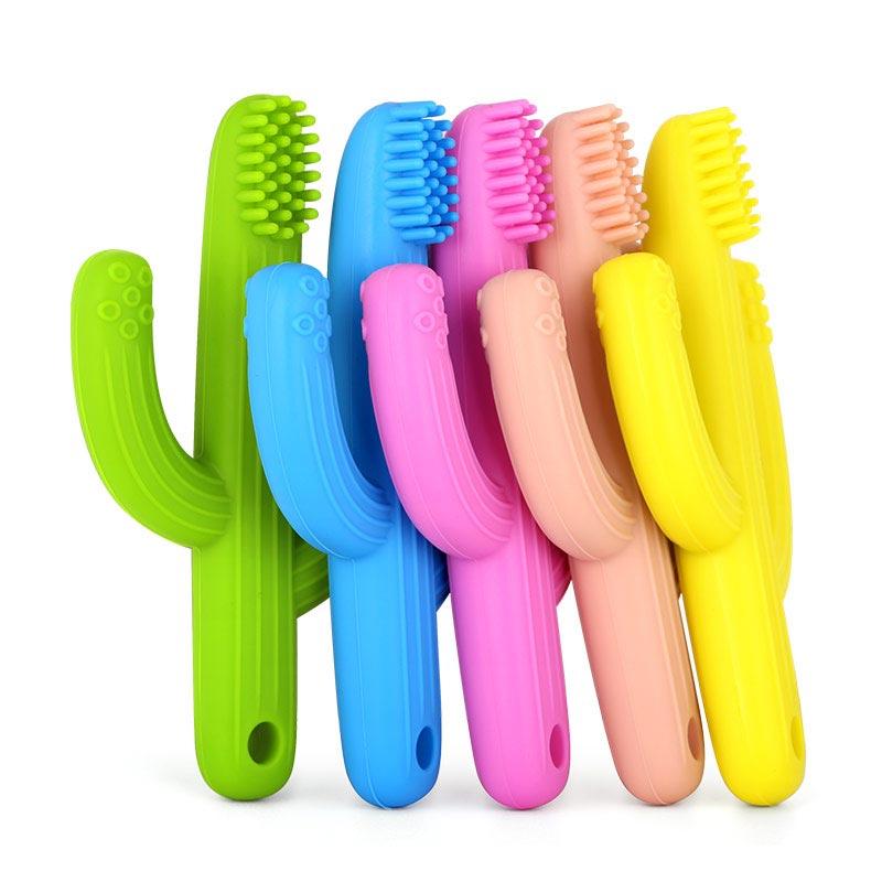 Teething Toothbrush Cactus Silicone Teether Toothbrush