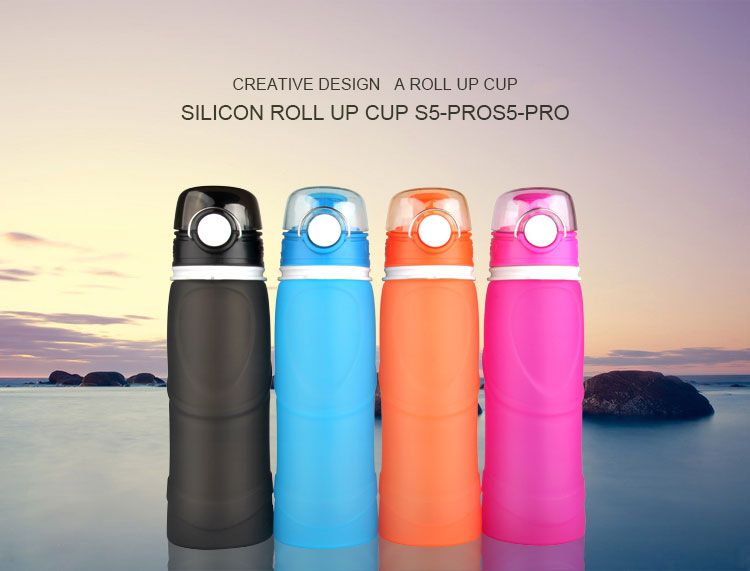silicone water bottle,bpa free silicone foldable water bottle
