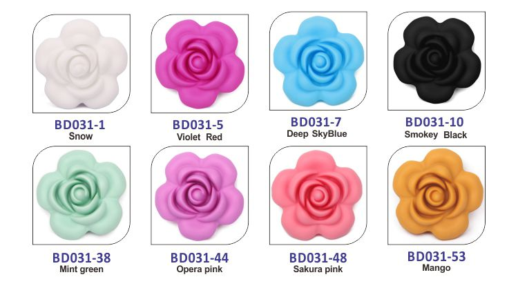 Baby teething beads, flower silicone beads for baby teething