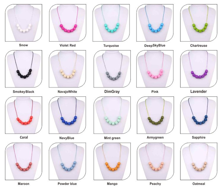 colorful Food grade silicone teething necklace wholesale