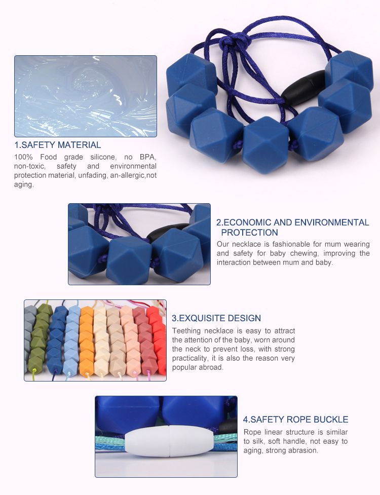 bpa free food grade silicone teething necklace wholesale