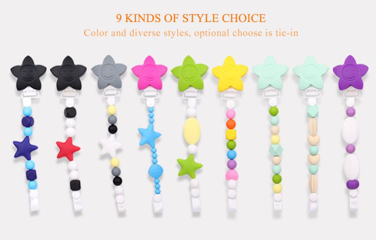 colorful baby pacifier clips