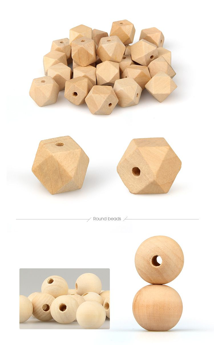 Round wooden beads, Hexagon wooden beads and Litte Donut wooden beads wholesale