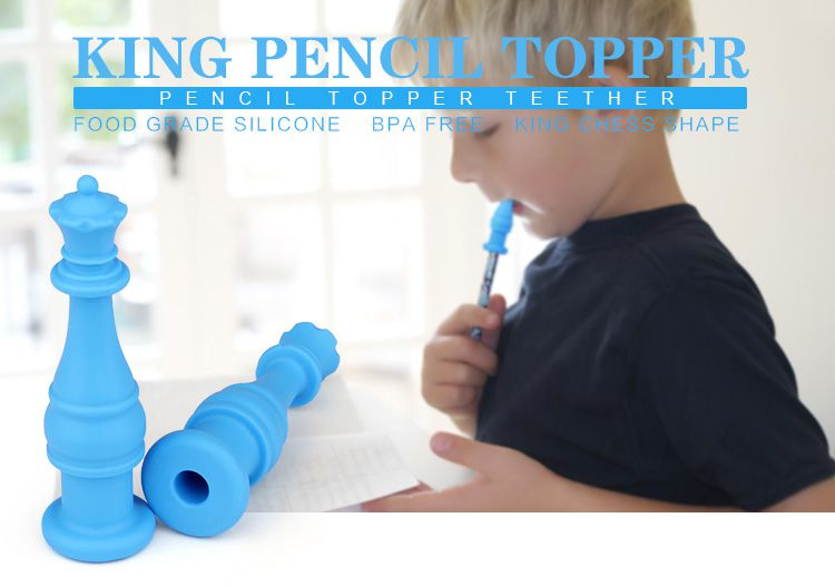 silicone toys for autism kids, bpa free silicone king toys Chewable Pencil Topper