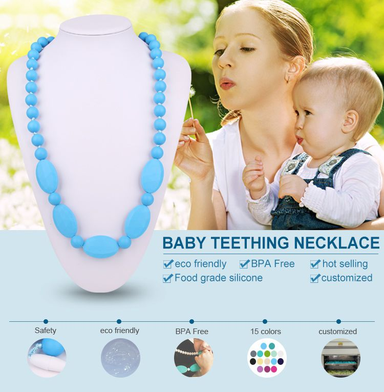 Silicone teething necklace wholesale, silicone beads necklace for mom