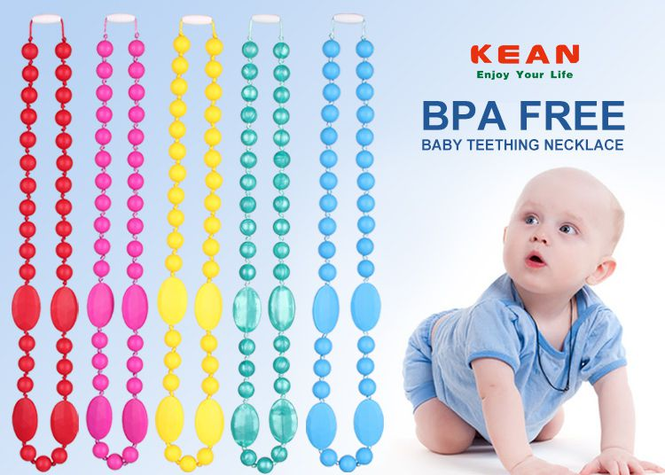 Silicone nursing necklace and bead necklace can soothe a teething baby