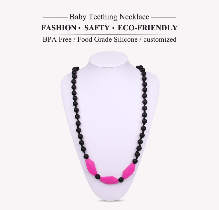 Silicone baby teething necklace are supposed to ease a baby's teething discomfort simply