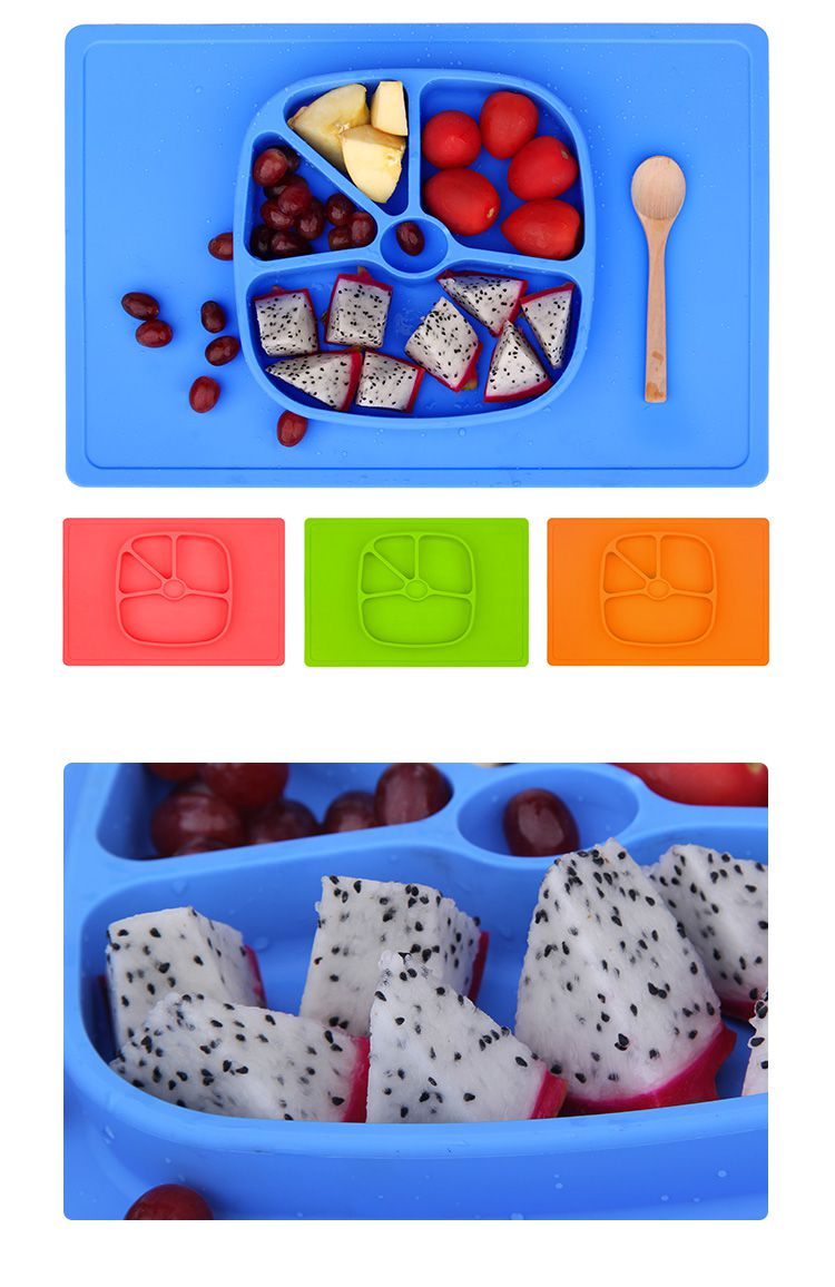 silicone placemat baby, One-piece silicone placemat + plate contains kids' messes for baby eating