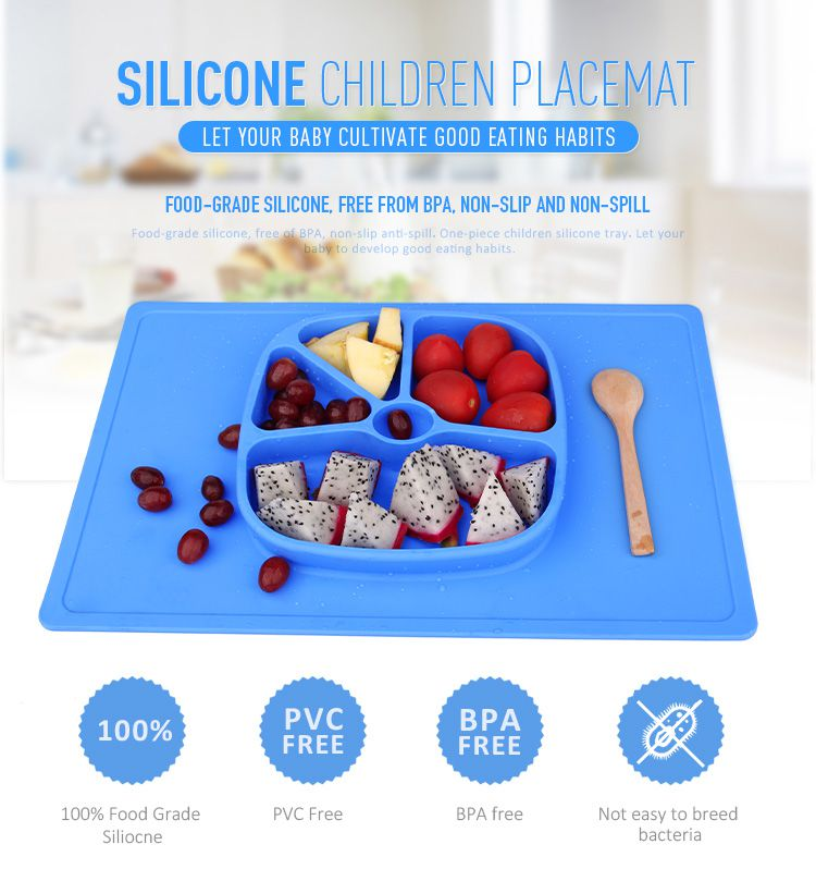 silicone placemat baby, One-piece silicone placemat + plate contains kids' messes