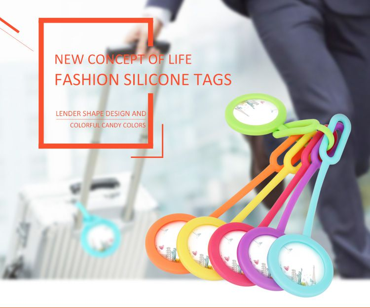 Silicone luggage Tags set, colorful silicone luggage bag label