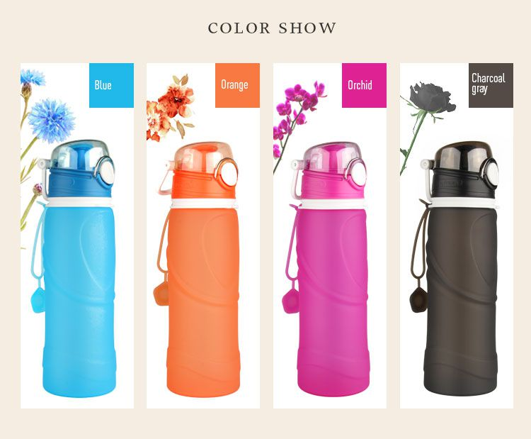 colorful eco squeeze silicone water bottle