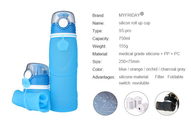 collapsible water bottle with filter, Active carbon filter water bottle