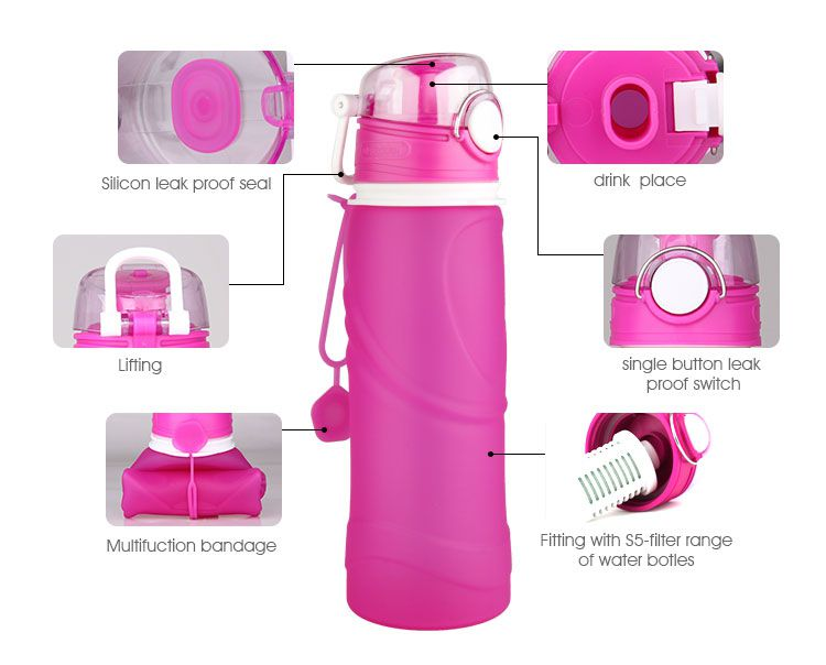 silicone collapsible water bottle with filter