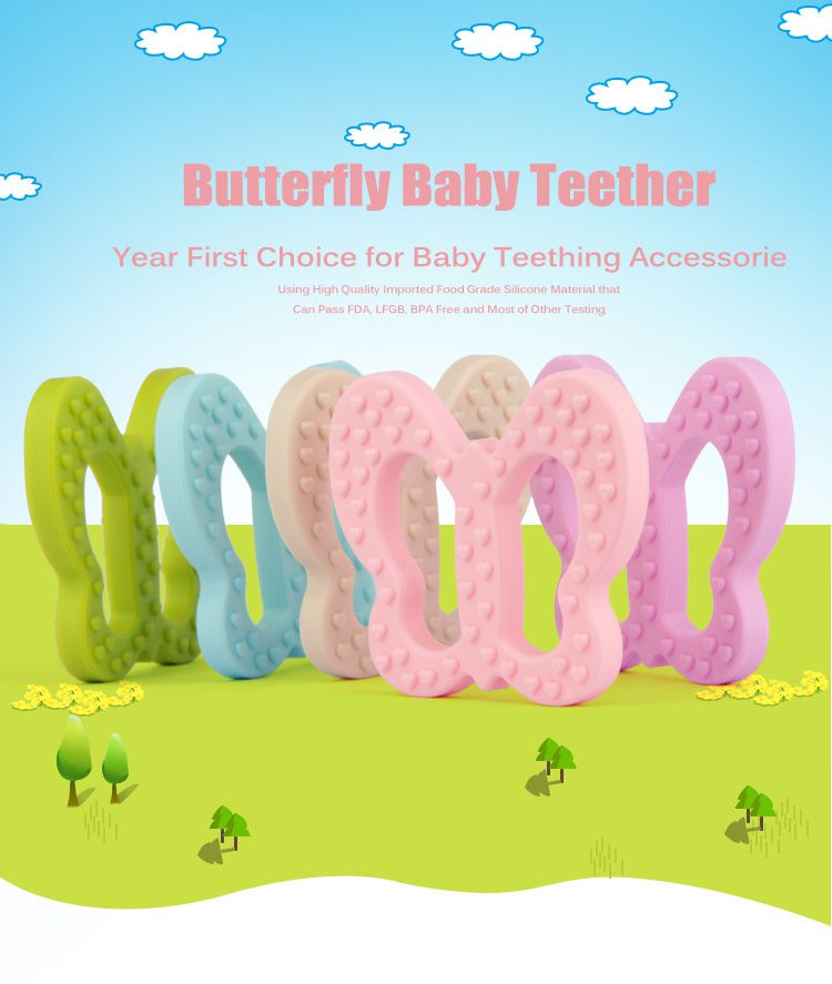 silicone baby toy for teething,bpa free butterfly silicone teething toys