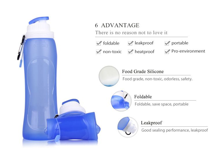 Silicone Collapsible water bottle wholesale bpa free