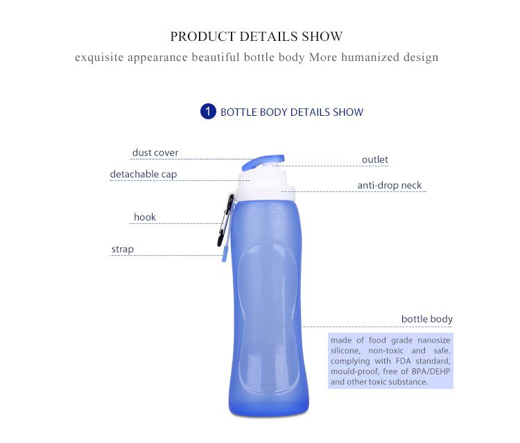 Leak-proof Portable Silicone Sport Collapsible Water bottle