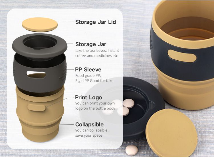 silicone cups with storage jar detail