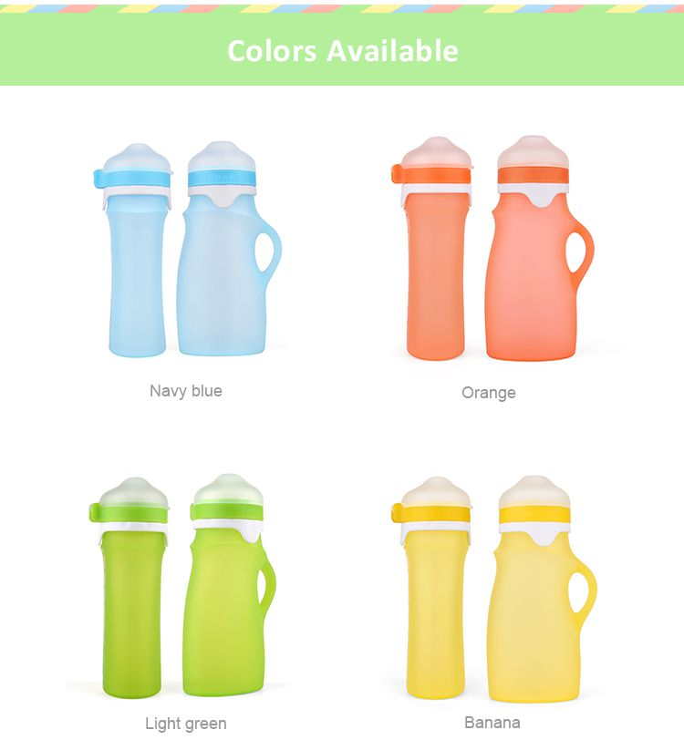 reusable baby food pouches, squeeze silicone food pouch wholesale, spill-proof silicone Squeeze food pouch are perfect for homemade baby food and smoothies.