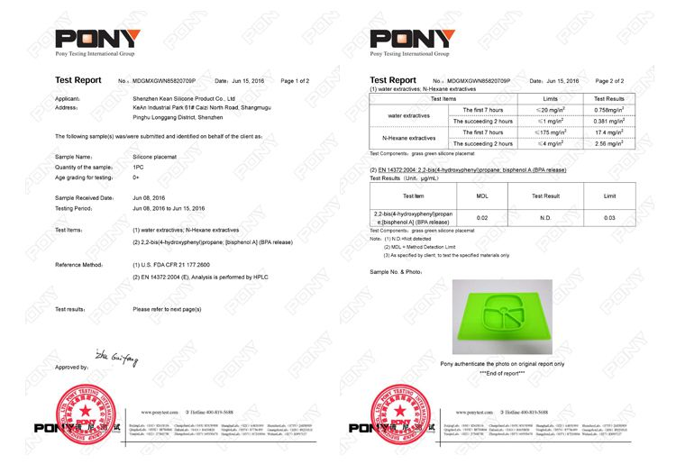 Silicone Placemat Plate certificate