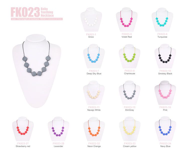 Bpa Free Silicone Baby Teething Necklace For Mom To Wear