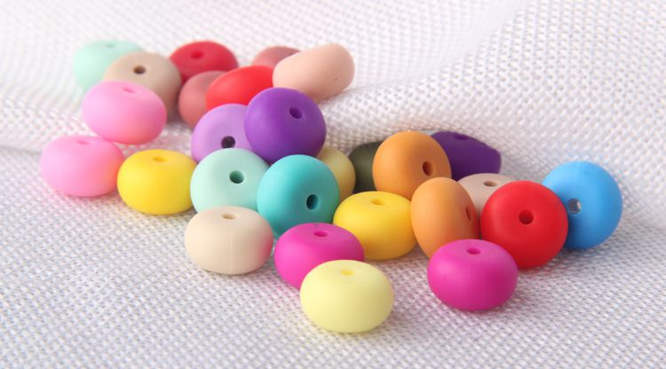 Multicolored Chewable Silicone beads for teething necklace