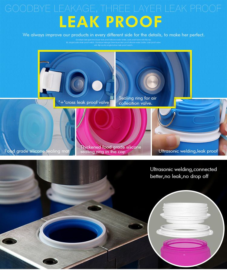 leak proof silicone foldable water bottle, nontoxic and safety