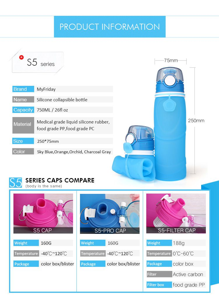 leak proof  Travel collapsible water bottle