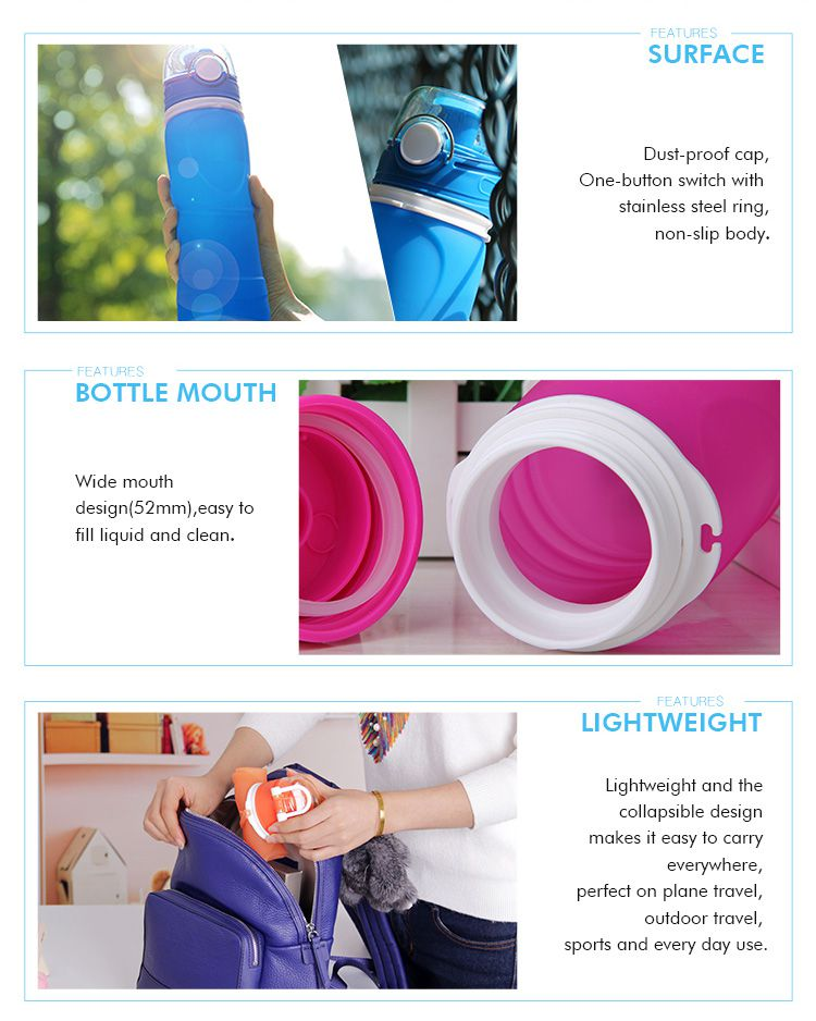 Leak proof, extrusion-resistant, Safety, durable silicone collapsible water bottle for kids