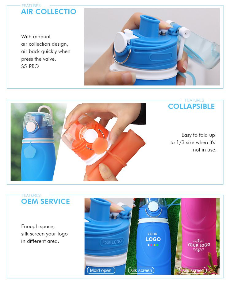 custom silicone collapsible water bottle