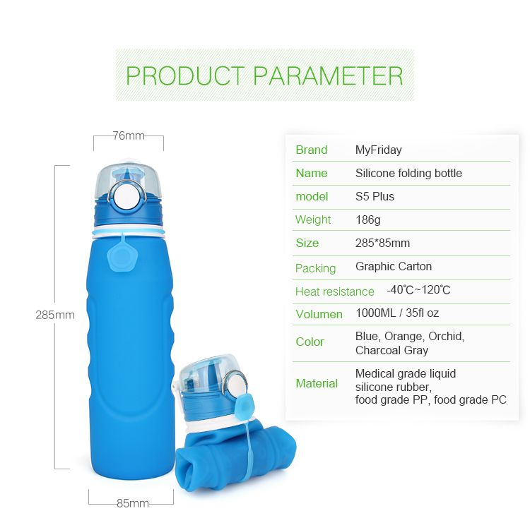 Durable - guaranteed to never shatter, leak or dent, 2017 new collapsible water bottle 1 litre