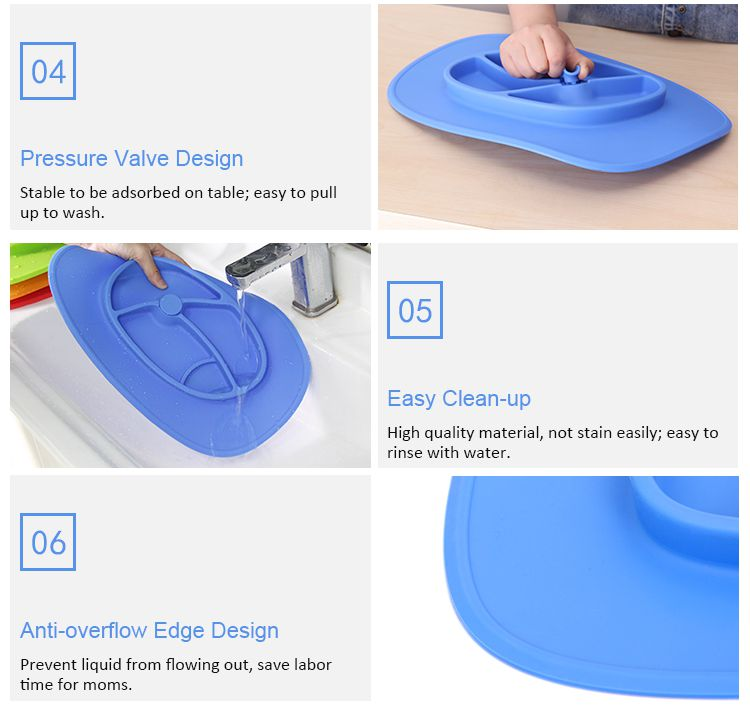 Non slip Silicone placemats for kids
