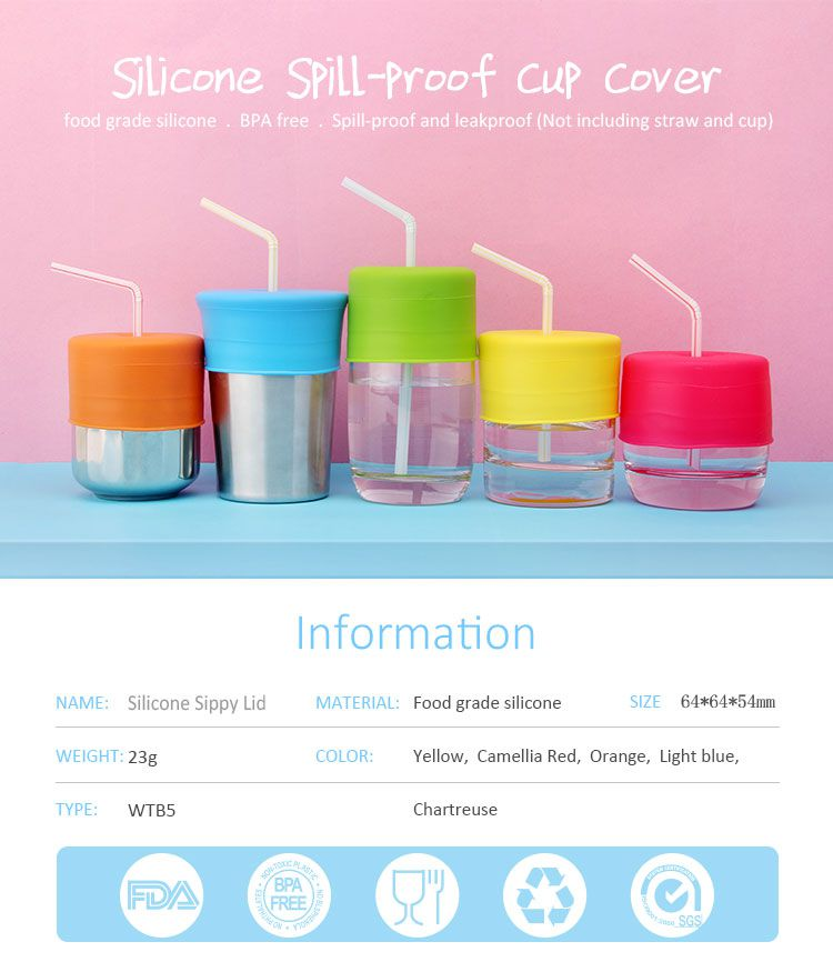 Silicone Sippy Lid, Spill-Proof Sippy Cup for Babies