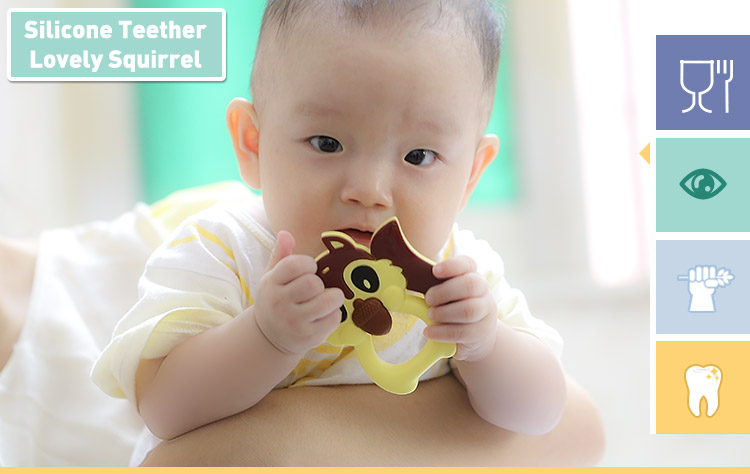 Squirrel baby toy, mombella squirrel silicone teether