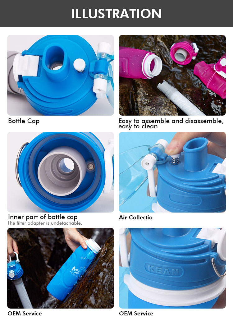 collapsible water bottle with filter wholesale