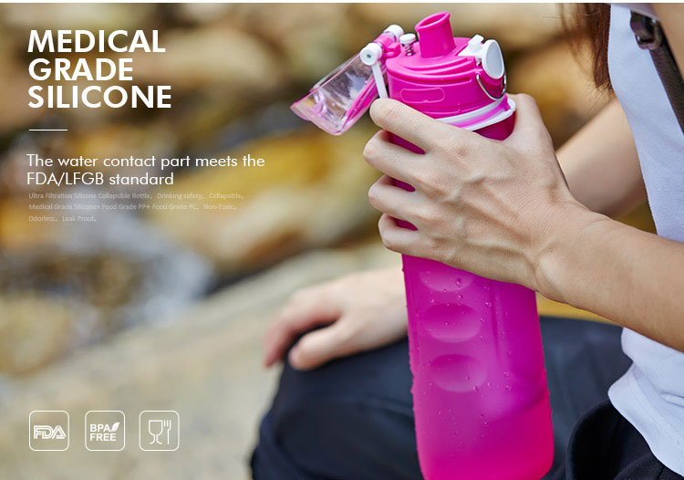 silicone water bottle with filter