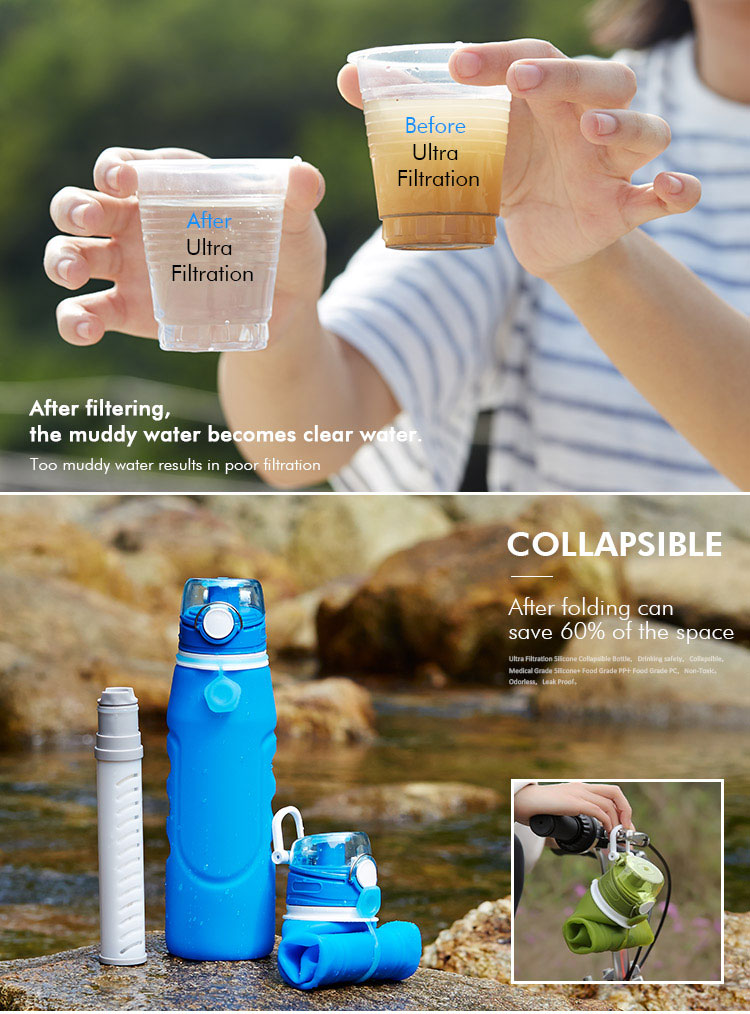 Collapsible water bottle with filter