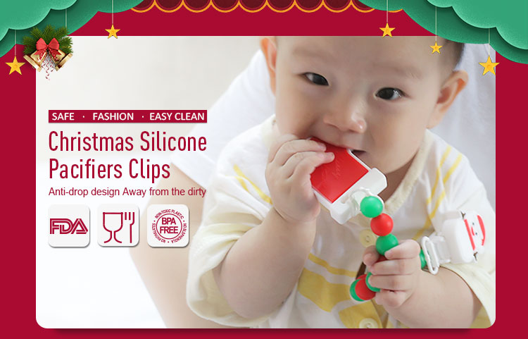Silicone teething pacifier clip with Christmas stocking pendant