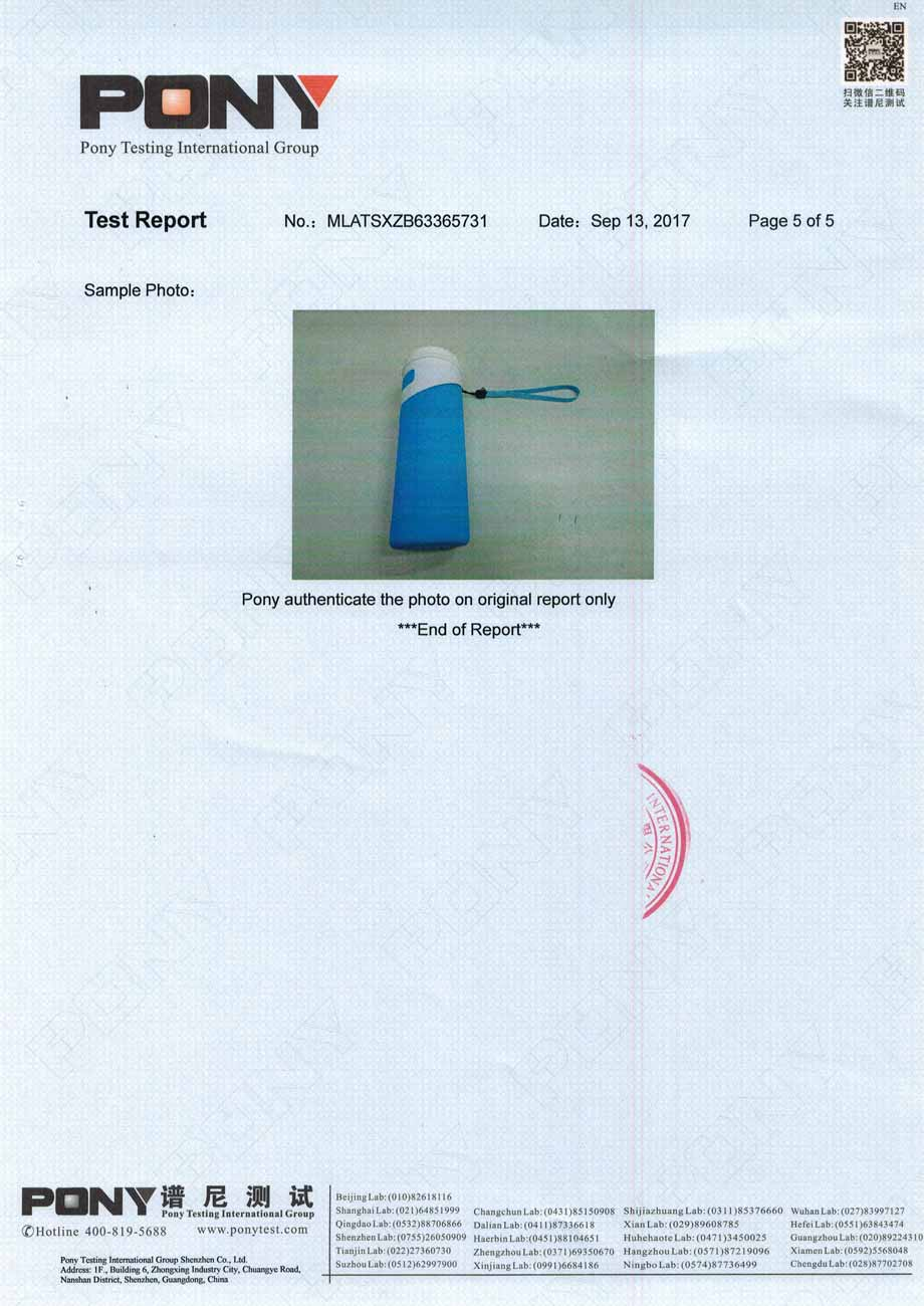Silicone insulated water bottle LFGB certificate