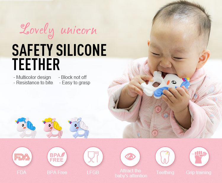 Unicorn baby toy - teething toys safety for 3 month old baby