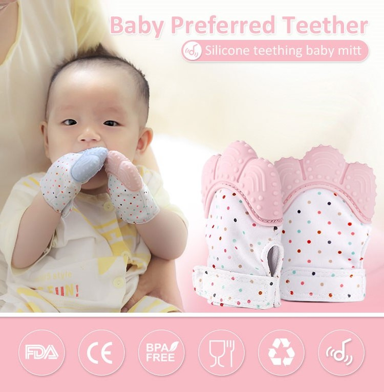 Baby teething mitten, waterproof teething glove for babies