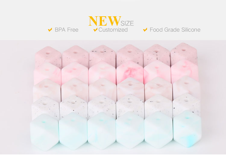 Teething beads bulk wholesale, 2018 new colourful Marble silicone beads