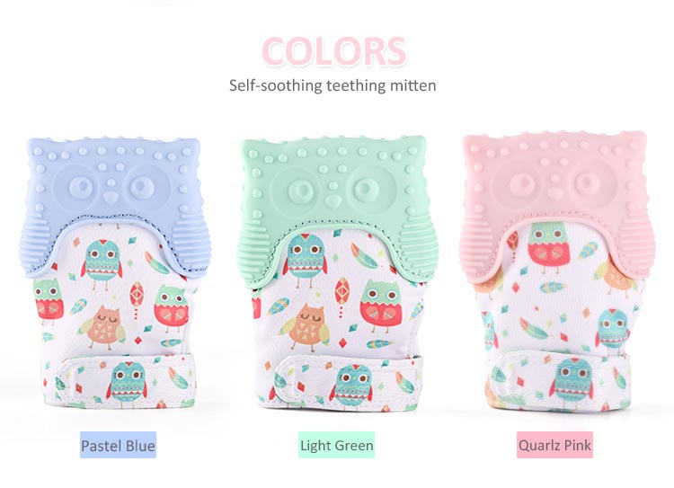 cut owl teething glove for babies