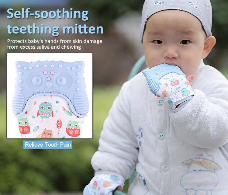 self-soothing teething glove mitt