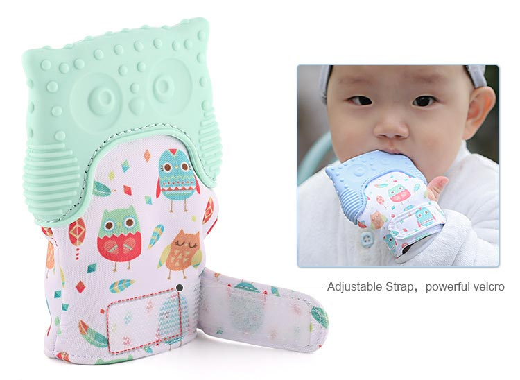 adjustable strap, powerful velcro teething glove mitten