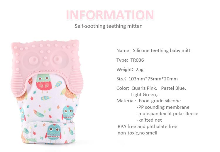 silicone baby teething mitt