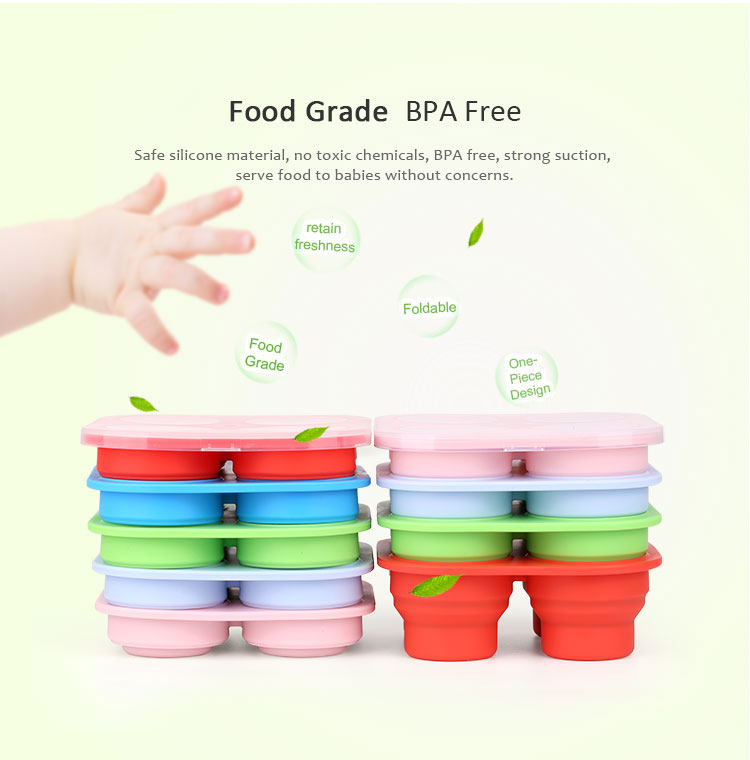 Silicone Baby Collapsible Food Storage Containers with Lid