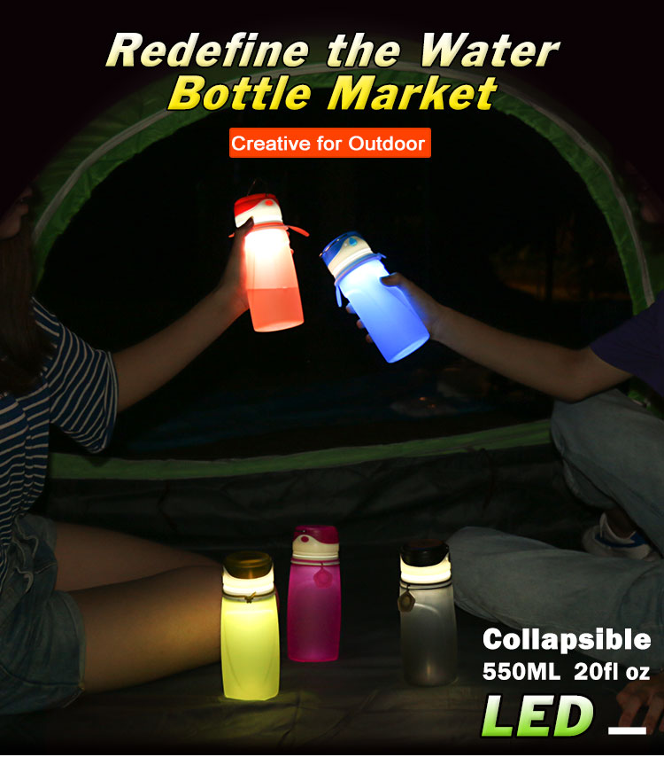 Led water bottle wholesale, collapsible bottles with lights in them