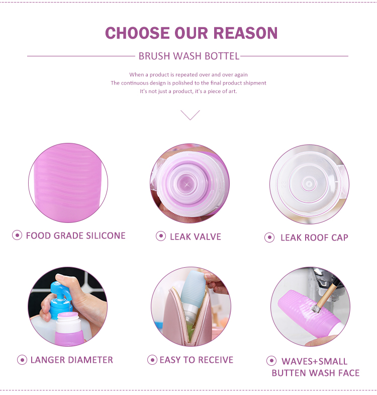 Multi-function travel bottle with Makeup brush wash pad